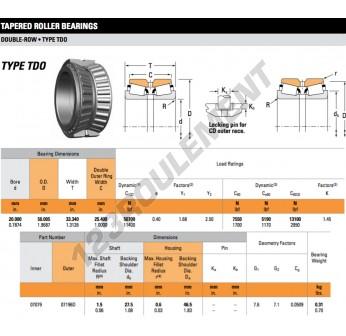 07079-07196D-TIMKEN - 20x50.01x33.34 mm