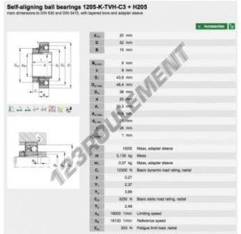 1205-K-TVH-C3-H205-FAG - 20x52x15 mm