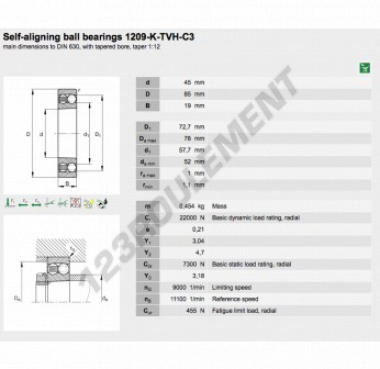 1209-K-TVH-C3-FAG - 45x85x19 mm
