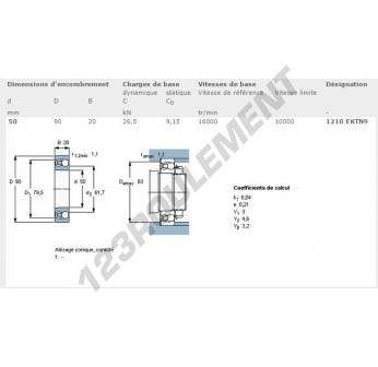 1210-EKTN9-SKF - 50x90x20.64 mm