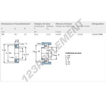 1210-ETN9-SKF - 50x90x20 mm
