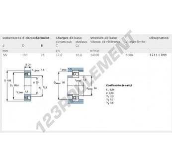 1211-ETN9-SKF - 55x100x21 mm