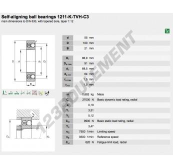 1211-K-TVH-C3-FAG - 55x100x21 mm
