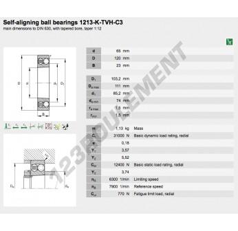1213-K-TVH-C3-FAG - 65x120x23 mm