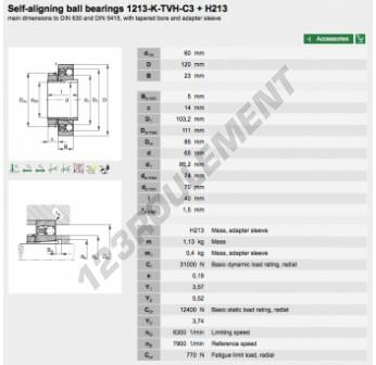 1213-K-TVH-C3-H213-FAG - 60x120x23 mm