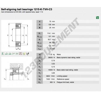 1215-K-TVH-C3-FAG - 75x130x25 mm
