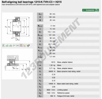 1215-K-TVH-C3-H215-FAG - 65x130x25 mm
