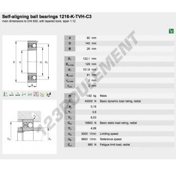 1216-K-TVH-C3-FAG - 80x140x26 mm