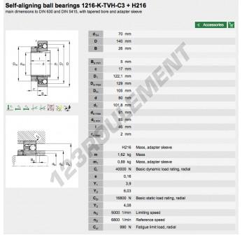 1216-K-TVH-C3-H216-FAG - 70x140x26 mm