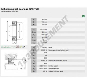 1216-TVH-FAG - 80x140x26 mm
