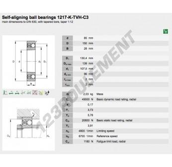 1217-K-TVH-C3-FAG - 85x150x28 mm