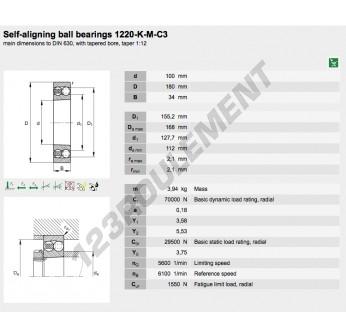 1220-K-M-C3-FAG - 100x180x34 mm