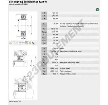 1224-M-FAG - 120x215x42 mm