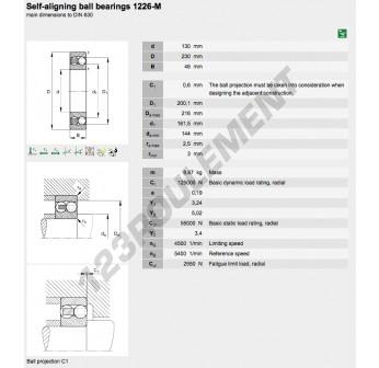 1226-M-FAG - 130x230x46 mm