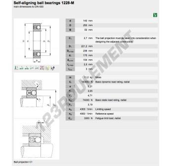 1228-M-FAG - 140x250x50 mm