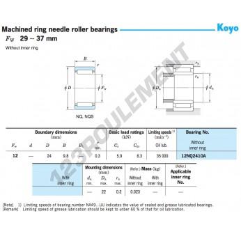 12NQ2410A-KOYO - 12x24x9.8 mm