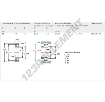 1302-ETN9-SKF - 15x42x13 mm
