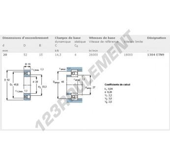 1304-ETN9-SKF - 20x52x15 mm