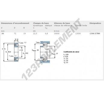 1306-ETN9-SKF - 30x72x19 mm