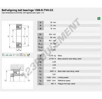 1306-K-TVH-C3-FAG - 30x72x19 mm