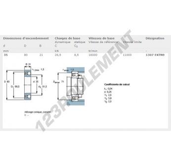 1307-EKTN9-SKF - 35x80x21 mm