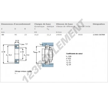 1308-EKTN9-SKF - 40x90x23 mm