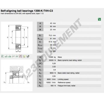 1308-K-TVH-C3-FAG - 40x90x23 mm