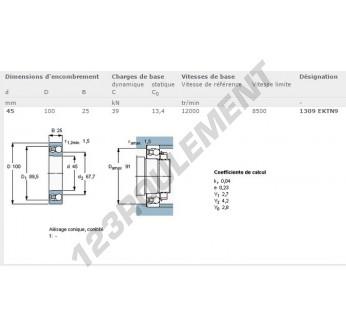 1309-EKTN9-SKF - 45x100x25 mm