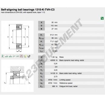 1310-K-TVH-C3-FAG - 50x110x27 mm