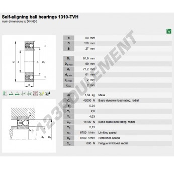 1310-TVH-FAG - 50x110x27 mm