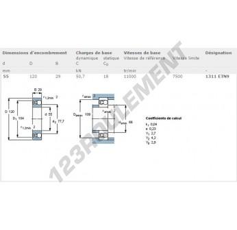 1311-ETN9-SKF - 55x120x29 mm