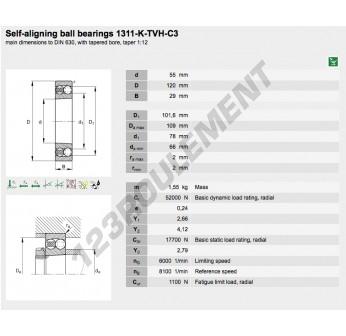1311-K-TVH-C3-FAG - 55x120x29 mm