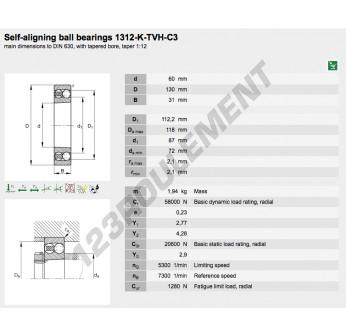 1312-K-TVH-C3-FAG - 60x130x31 mm