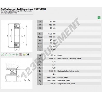 1312-TVH-FAG - 60x130x31 mm