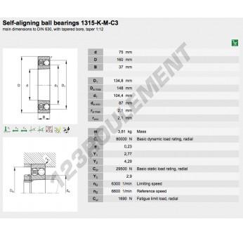 1315-K-M-C3-FAG - 75x160x37 mm