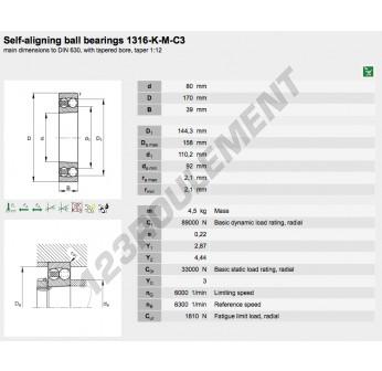 1316-K-M-C3-FAG - 80x170x39 mm