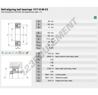 1317-K-M-C3-FAG - 85x180x41 mm
