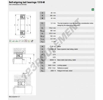 1319-M-FAG - 95x200x45 mm