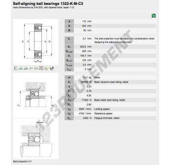 1322-K-M-C3-FAG - 110x240x50 mm