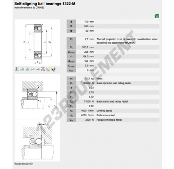 1322-M-FAG - 110x240x50 mm