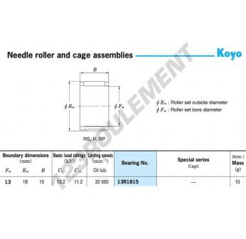 13R1815-KOYO - 13x18x15 mm