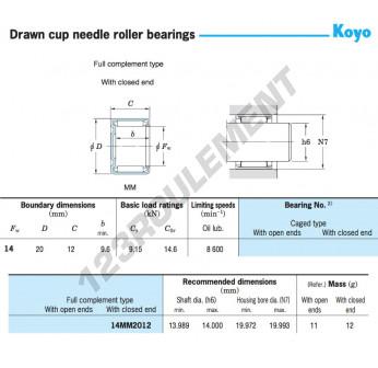 14MM2012-KOYO - 14x20x12 mm