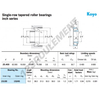 15100-15245-KOYO - 25.4x62x19.05 mm