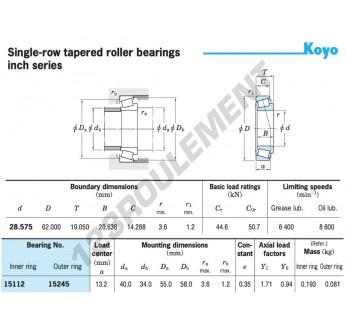 15112-15245-KOYO - 28.58x62x19.05 mm