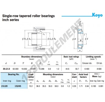 15120-15245-KOYO - 30.21x62x18.16 mm