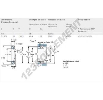 15123-15245-Q-SKF - 31.75x62x19.05 mm