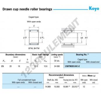 15BTM2016C-2-KOYO - 15x20x16 mm