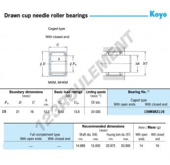 15MKM2116-KOYO - 15x21x16 mm