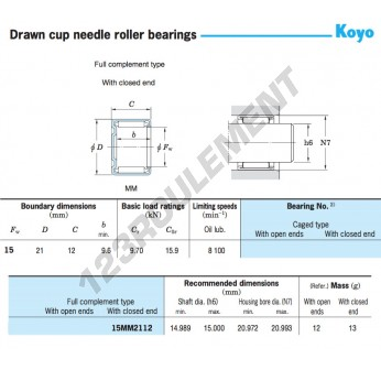 15MM2112-KOYO - 15x21x12 mm