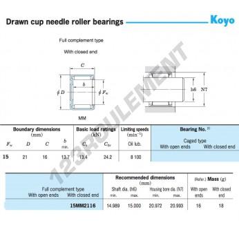 15MM2116-KOYO - 15x21x16 mm